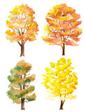 Set of watercolor autumn trees. Set of watercolor hand painted autumn trees isolated on white Stock Photos