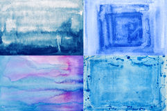 Set watercolor backgrounds in blue tones Royalty Free Stock Images