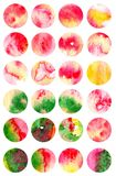 Set of 24 watercolor backgrounds in a circle. Background bubbles Stock Photos