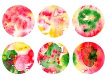 Set of 6 watercolor backgrounds in a circle. Background bubbles Stock Photo