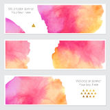 Set of watercolor backgrounds. Collection of colorful watercolor backgrounds. Set of watercolor blots isolated on white background for your design, cards Stock Image