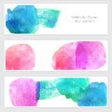 Set of watercolor backgrounds. Collection of colorful watercolor backgrounds. Set of watercolor blots isolated on white background for your design, cards Stock Images