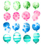 Set of watercolor balloons. Isolated on white background Stock Image