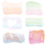 Set of watercolor banners,  frames, splashes. Artistic design Stock Photos