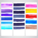 Set of watercolor banners. Set of handdrawn watercolor banners for your business Stock Images