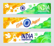 Set of watercolor banners Indian Flag for Independence Day. Stock Images