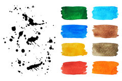 Set of watercolor banners and spray. Vector Illustration. A collection of black and splashes of colorful watercolor banners for design Stock Image