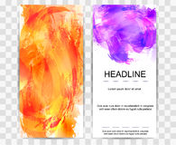Set of watercolor banners. Watercolor waves. Set of watercolor banners. Bright orange and purple web banner. Watercolor waves. Vector illustration Stock Photos