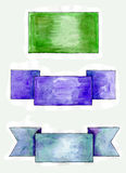 Set of watercolor banners for web. Set of watercolor banners of different styles Stock Photos