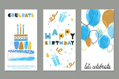 Set of watercolor birthday greetings card design Stock Images