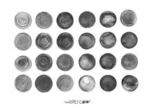 Set of watercolor black round shapes. Watercolour circle textures. Grey circles on white background. Grunge black watercolor painted circle backgrounds Royalty Free Stock Photo