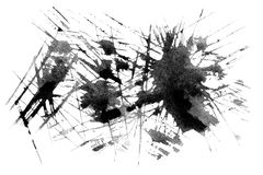Set of watercolor blobs - Abstract black watercolor texture.  Royalty Free Stock Image