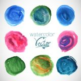Set of watercolor blobs circle design elements Royalty Free Stock Photography