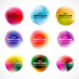 Set of watercolor blobs, splashes isolated on white background. Stock Image