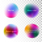 Set of watercolor blobs, splashes isolated on white and transpa Stock Illustration