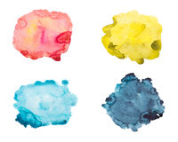 Set of watercolor blot, drop, isolated on white background. Stock Photography