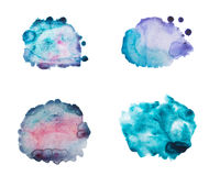 Set of watercolor blot, drop, isolated on white background. Stock Photos