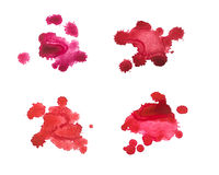 Set of watercolor blot, drop, isolated on white background. Royalty Free Stock Photos