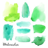 Set of watercolor blots. Isolated on white background. Colorful hand drawn watercolor blots for your design Stock Photography