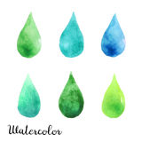 Set of watercolor blots. Isolated on white background. Colorful hand drawn watercolor blots for your design Royalty Free Stock Image