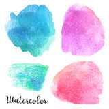 Set of watercolor blots. Isolated on white background. Colorful hand drawn watercolor blots for your design Stock Photos