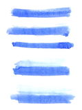 Set watercolor, blue abstract painted ink brush strokes isolated on white background Stock Photo