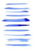 Set watercolor, blue abstract painted ink brush strokes isolated on white background Stock Photography