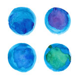 Set of watercolor blue circles Stock Images