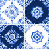 Set of watercolor blue pattern stock photo