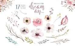 Set of watercolor boho floral foliage. Watercolour bohemian natural frame: leaves, feathers, flowers, Isolated on white vector illustration