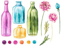Set Of Watercolor Bottles, Flowers And Spots Stock Image