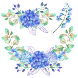 A set of the watercolor bouquets with the blue Hydrangea flowers stock illustration