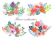 Set of watercolor bouquets with flowers, leaves and plants Stock Photos