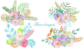 Set of watercolor bouquets with flowers, leaves and plants Stock Images