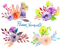 Set of watercolor bouquets with flowers, leaves and plants Stock Image