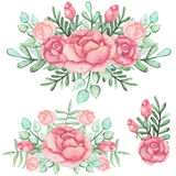 Set Of Watercolor Bouquets With Roses And Green Leaves Stock Photography