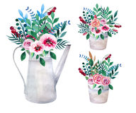 Set of watercolor bouquets. spring flowers in pot. Rustic Stock Photos