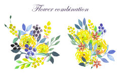Set of watercolor bouquets with yellow flowers, leaves and plants Stock Photography