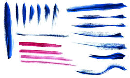 Set of watercolor brush strokes. Set of various watercolor brushes in blue and purple color Royalty Free Stock Photos
