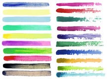 Set of watercolor brush strokes Royalty Free Stock Photos