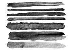 Set of watercolor brush strokes. Isolated. Stock Images
