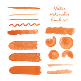 Set of watercolor brush vector strokes. Vector illustration for your design Royalty Free Stock Photo