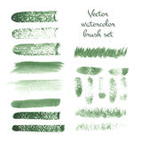 Set of watercolor brush vector strokes. Vector illustration for your design Stock Photos