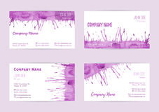 Set of watercolor business cards Stock Images
