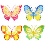 Set of watercolor butterflies on a white background Royalty Free Stock Photos