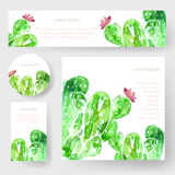 Set of watercolor cactus tags and banners,  Stock Photos