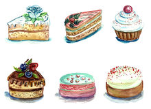 Set of watercolor cakes and pastries Stock Photo
