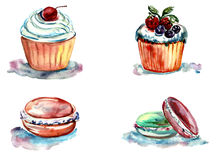 Set of watercolor cakes and pastries Royalty Free Stock Photography