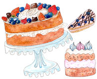 Set of watercolor cakes on white. Set of cakes - watercolor painting on white Royalty Free Stock Image