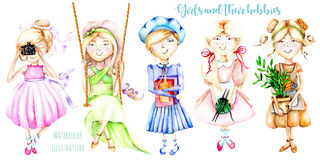 A set of watercolor cartoon characters of girls illustrations who have a favorite pastime Royalty Free Stock Images